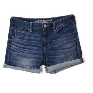 American Eagle Dark Wash Super Strech Midi Shorts